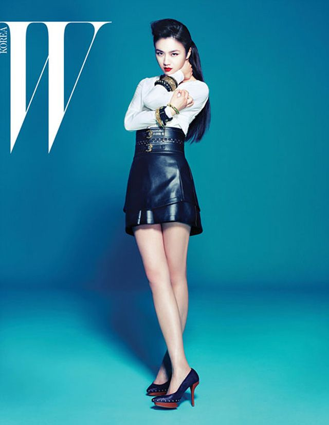tang wei swims in shades of blue in pages of w korea